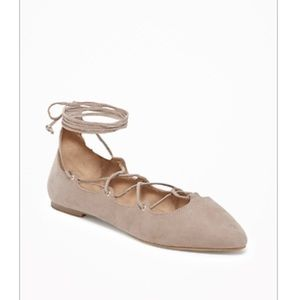 Suede lace up flats taupe